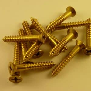 "Solid Brass Wood Screws 1 1/2"" x 10 g (100 screws) phillips head"