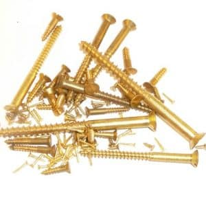 "Solid brass wood screws 1"" x 5g, slotted, countersunk head (100 screws)"
