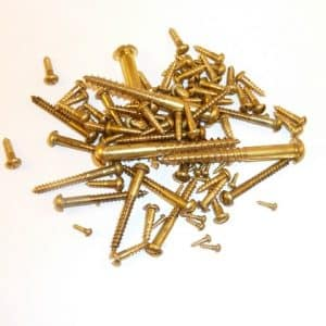 "Solid Brass round head wood screws 3/4"" x 5g (100 screws)"