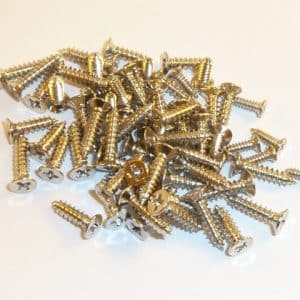 Nickel plated - Chrome plated Wood Screws 10mm x 2mm (100 screws)