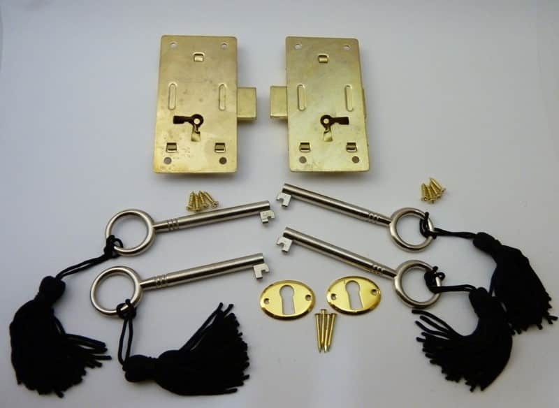 Brass plated Steel Cabinet Door Locks - Left and Right