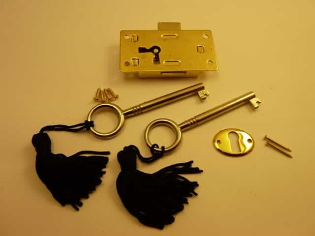 Brass plated Steel Drawer Lock - Large