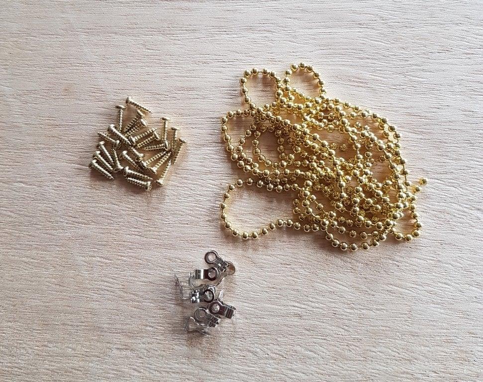 Ball Chain Fine Brass plated - Hardware for Creative Finishes - Veneer Inlay Australia